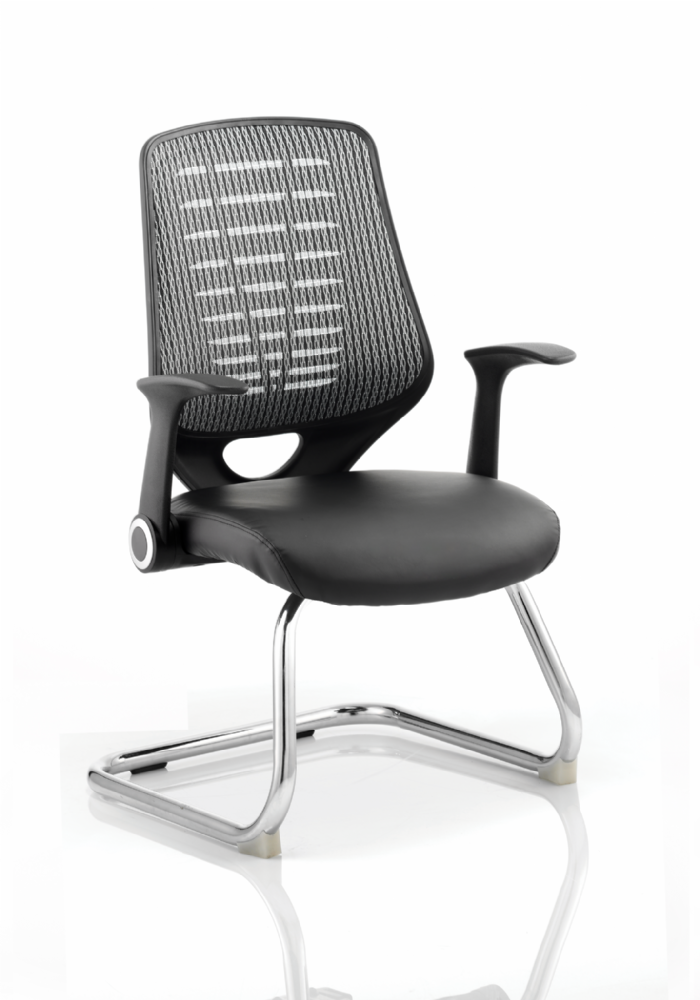 Relay Cantilever Meeting Chair Folding Arms Chrome Frame Black Leather Seat Black/Silver Mesh Back